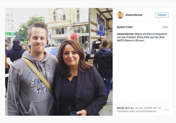 Geht da noch was? Bandbreite Sänger Wojna wirbt mit seinem Foto mit Linken-MdB Dadgelen auf Instagram Foto_: Screenshot Instragram