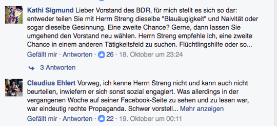 Protest auf der Facebook-Seite des BDR, Screenshot