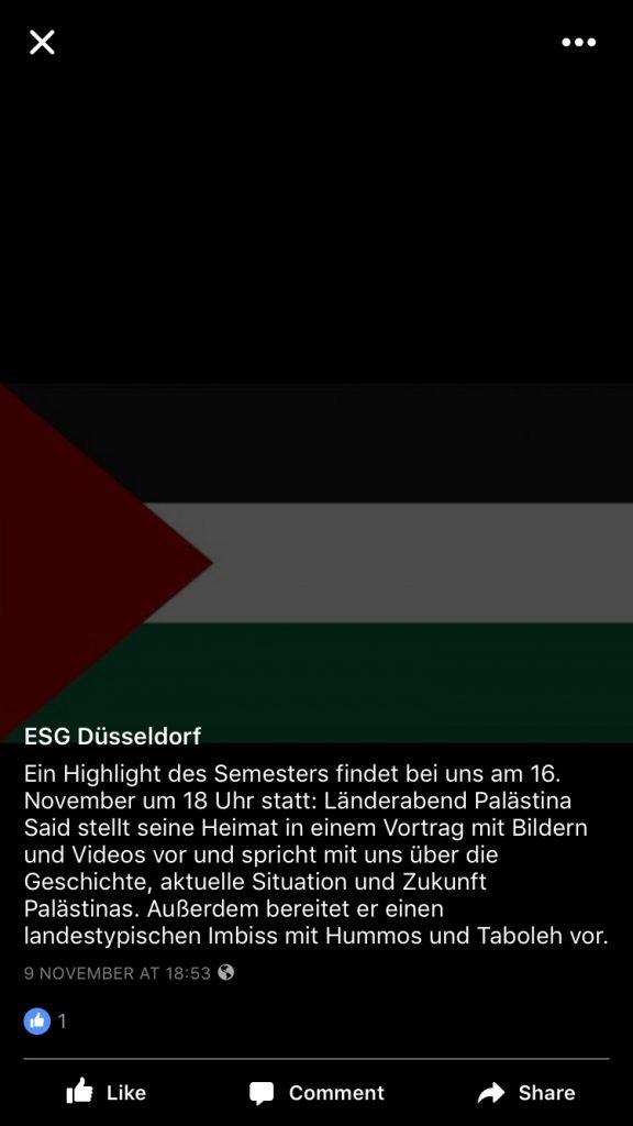 Screenshot des Ankündigungsfotos der Veranstaltung auf der ESG-Düsseldorf Facebookseite.