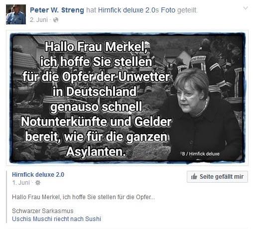 Screenshot Facebook-Seite von Peter Streng