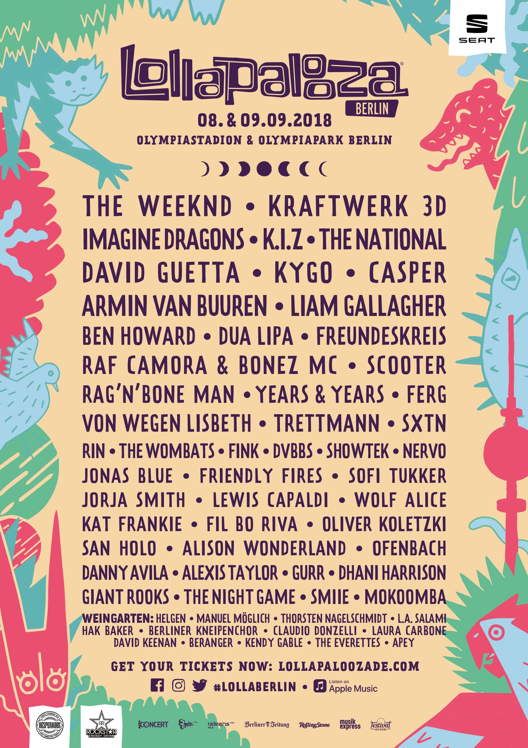 Das Line-Up ist komplett - Lollapalooza am 08 & 09 2018 in