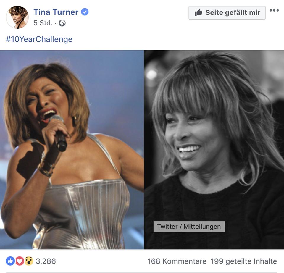 Auch die Musikerin Tina Turner machte bei der 10-Year-Challenge mit. Foto: Screenshot.