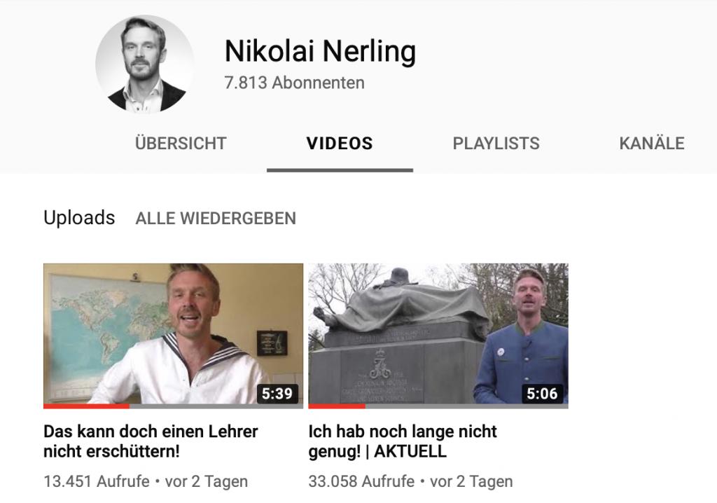 """YouTube-Cnallen von Nikolai Nerling aka """"Der Volkslehrer""""..."""