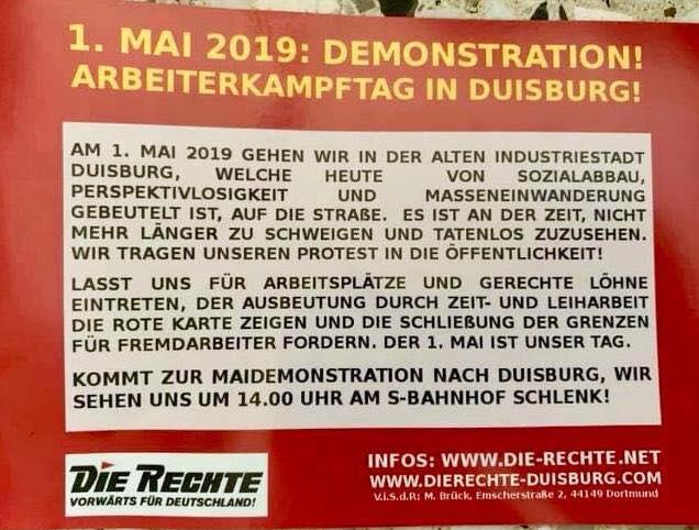 """Flugblatt der Nazikleinstpartei """"Die Rechte"""" zum 1. Mai in Duisburg..."""