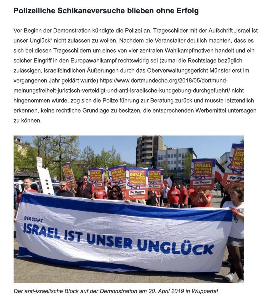"""Screenshot: Blog von """"Die Rechte - KV Duisburg""""; Impressionen aus Wuppertal!"""