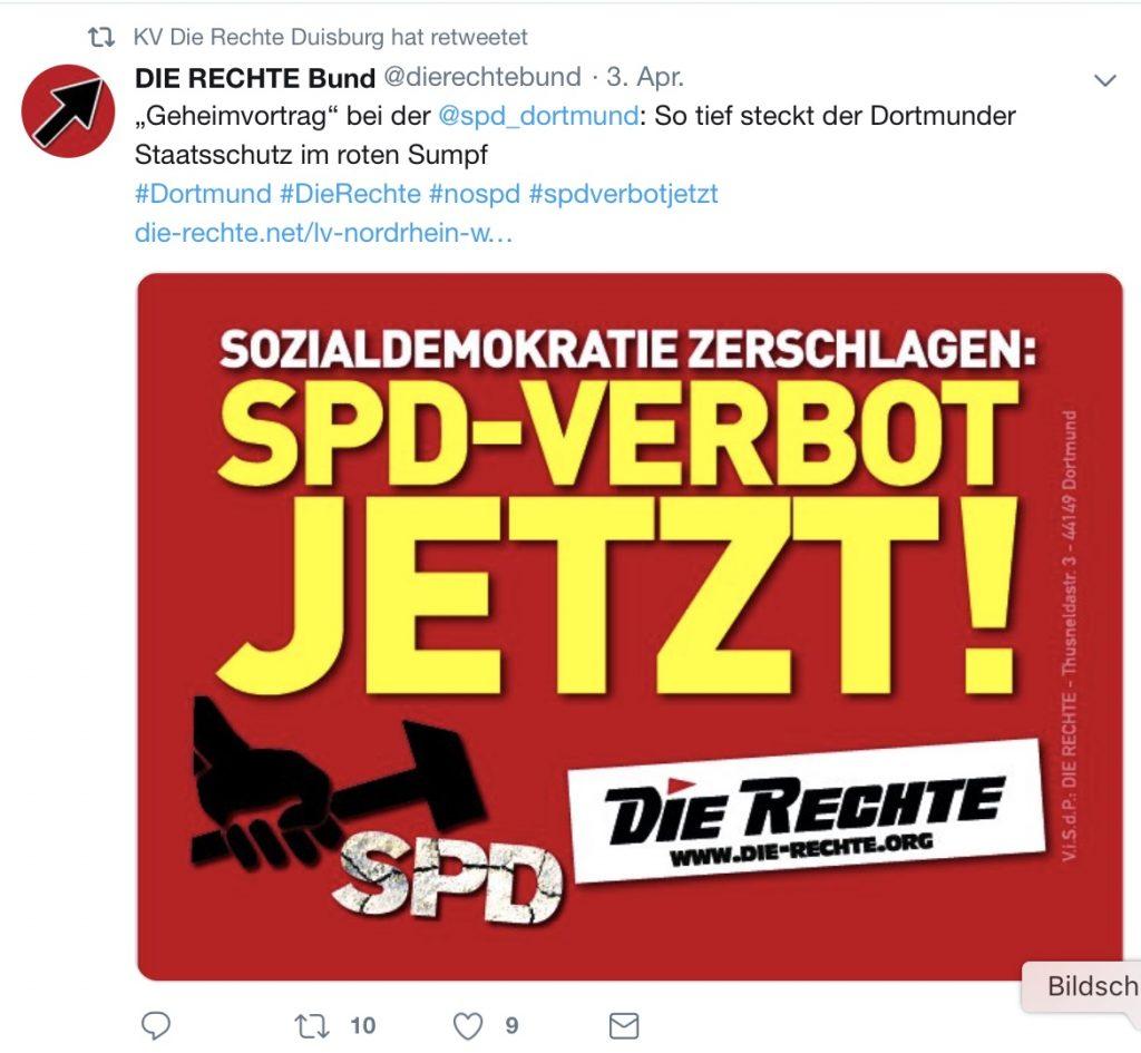 """Screenshot: Im Twitter-Account von """"Die Rechte Duisburg"""" wird ein SPD-Verbot gefordert..."""
