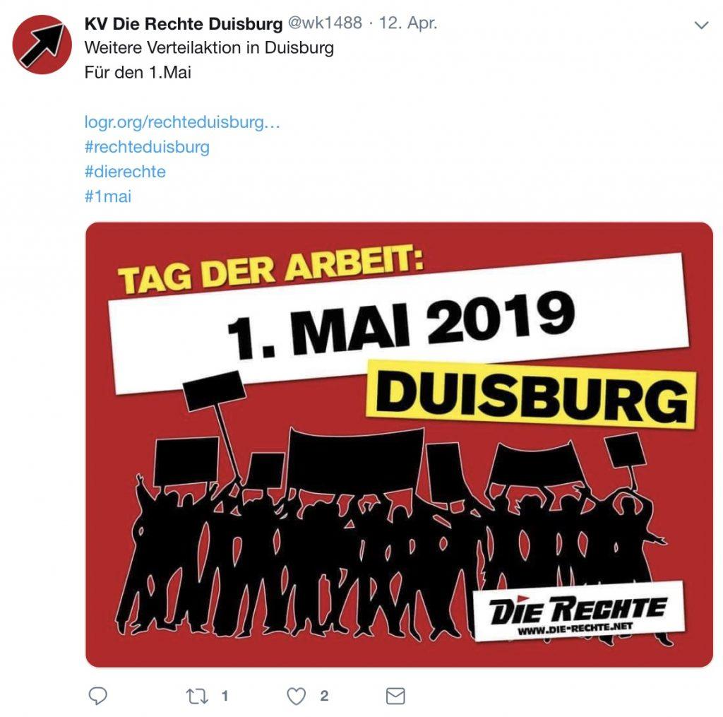 Tag der Arbeit: DIE RECHTE mobilisiert für die Kundgebung in Duisburg....