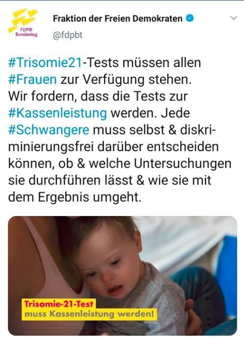 Umstrittene Bebilderung des FDP-Postings zu Trisomie-21-Tests.