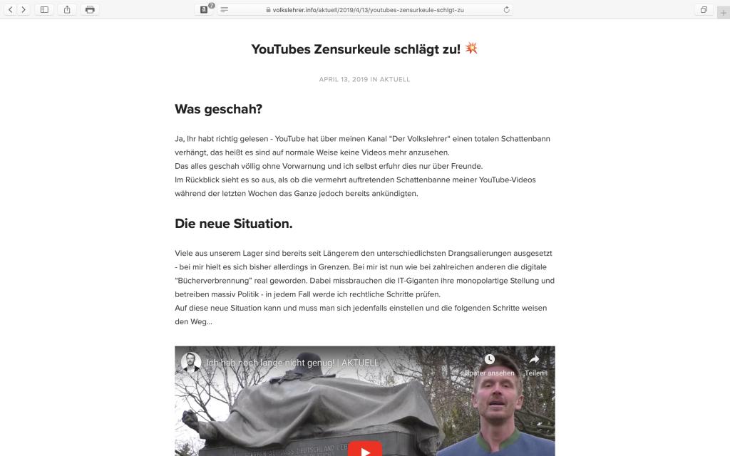 """""""Volkslehrer.info"""": Abmahngefährdet, da im Impressum die ladungsfähige Adresse fehlt.."""