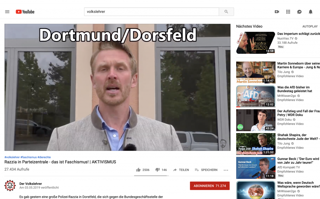 Screenshot YouTube: Nikolai Nerling zu den Hausdruchsuchungen in Dortmund-Dorstfeld