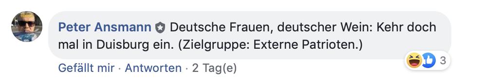Mit Rückblick auf die früheren Umzüge des Duisburger PEgIdA-Ablegers: Ein Zielgruppenvers!
