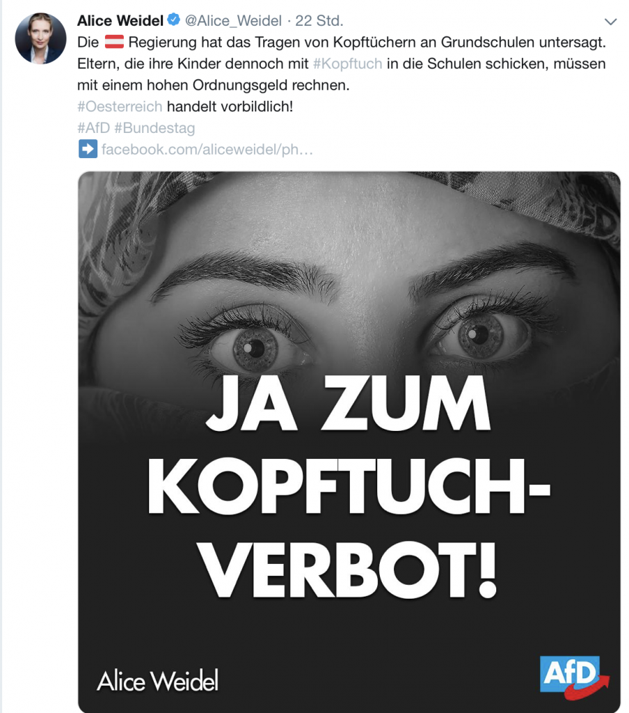 Alice Weidel: Österreich ist Thema auf Twitter. Nicht jedoch die Krise der befreundeten FPÖ; Screenshot Twitter