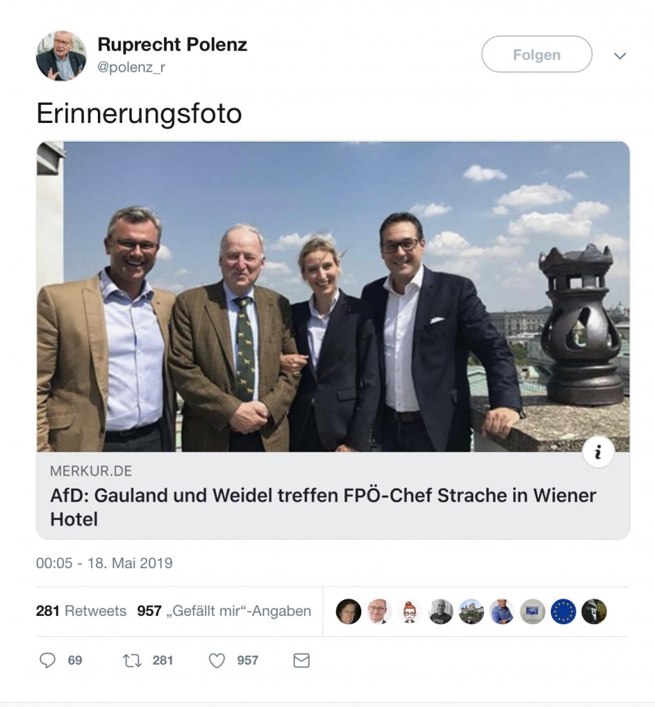 Ruprecht Polenz (CDU) erfreut die braunen Herzen der AfD mit schönen Erinnerungen; Screenshot Twitter
