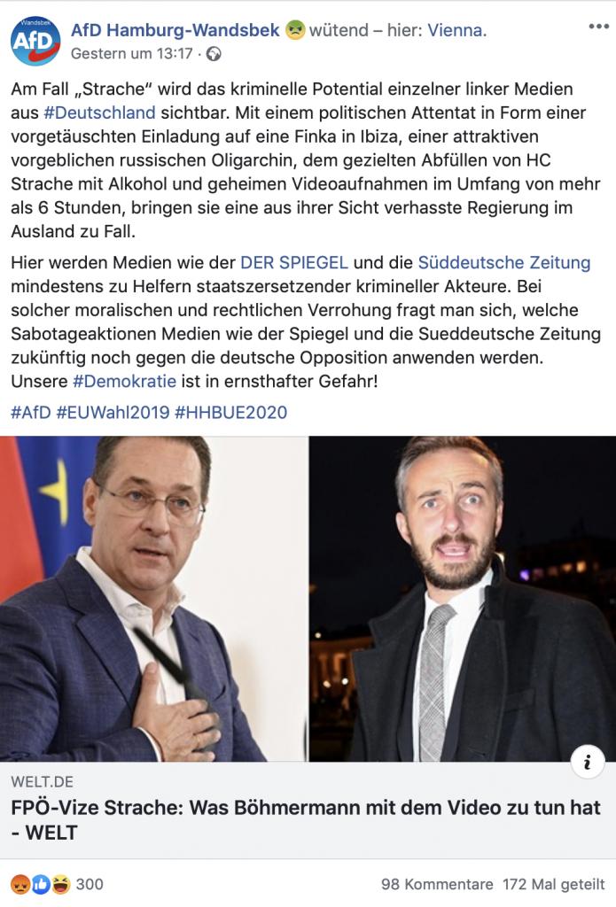 """AfD Hamburg-Wandsbek eskaliert: """"Staatszersetzender kriminelle Akteure""""; Screenshot Facebook"""