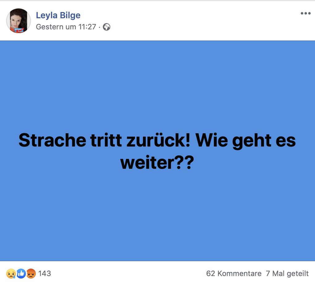 Mimimi: HC Strache tritt zurück. Wir sind verloren; Screenshot Facebook
