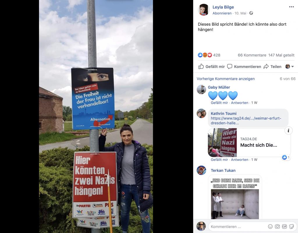 """Fühlst sich offensichtlich als """"Nazi"""" angesprochen: Strache-Sympatisantin Leyla Bilge; Screenshot Facebook"""