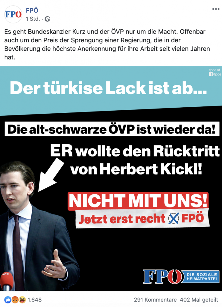 Böse ÖVP; Screenshot: Facebook