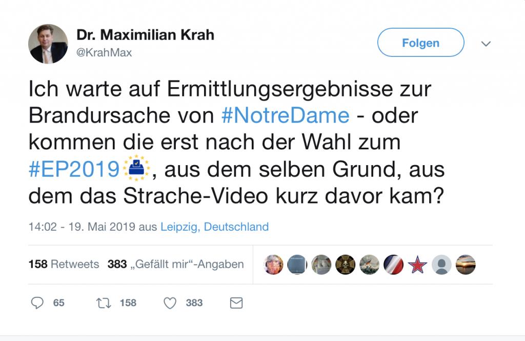 Dr. Maximilian Krah: Wilde Verschwörungstheorien auf Twitter; Screenshot Twitter
