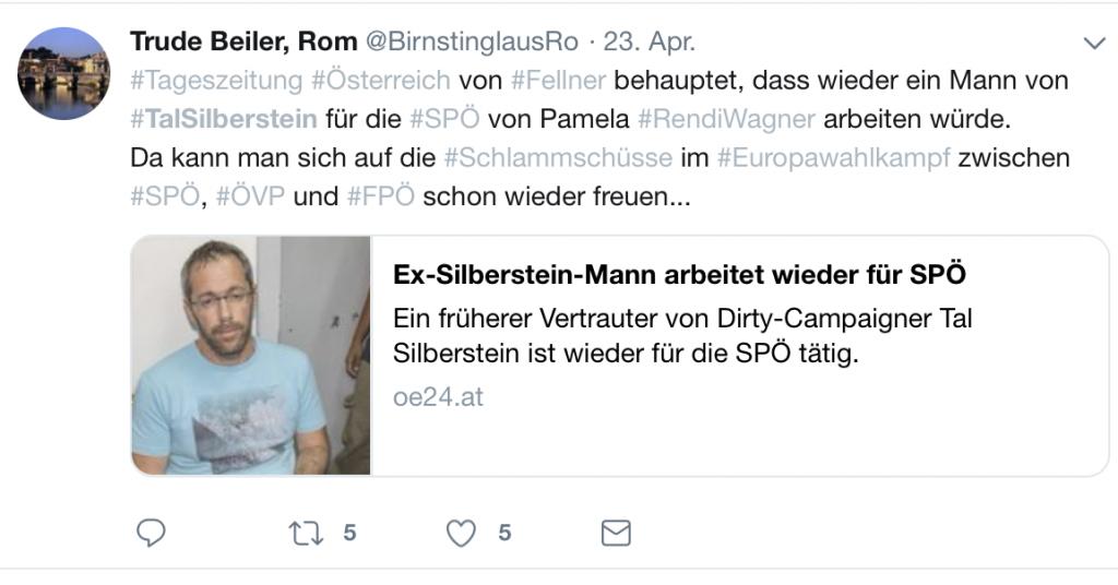Auch sehr verdächtig für Verschwörungstheoretiker: Tal Silberstein; Screenshot Twitter