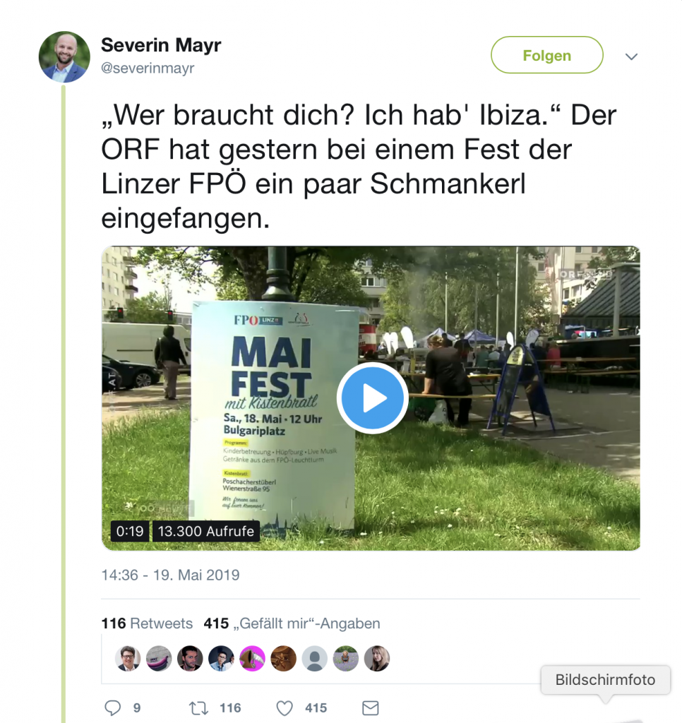 Willkommen zur Krise! Gute Stimmung bei der FPÖ in Linz!; Screenshot Twitter