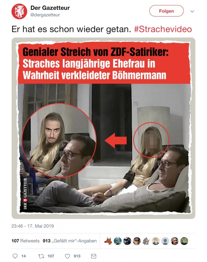 Der Gazetteur: Böhmermann enttarnt; Foto: Screenshot Twitter