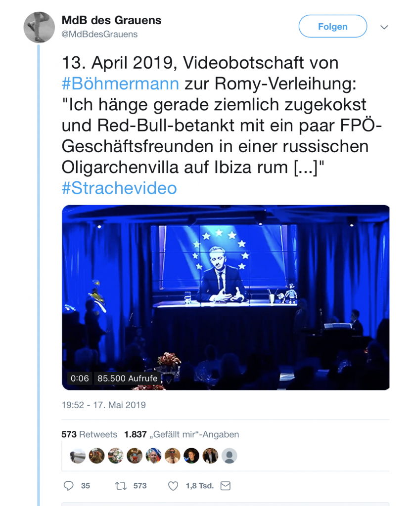 Red-Bull-betankt und zugekokst mit der FPÖ auf Ibiza: Jan Böhmermann; Foto: Screenshot Twitter