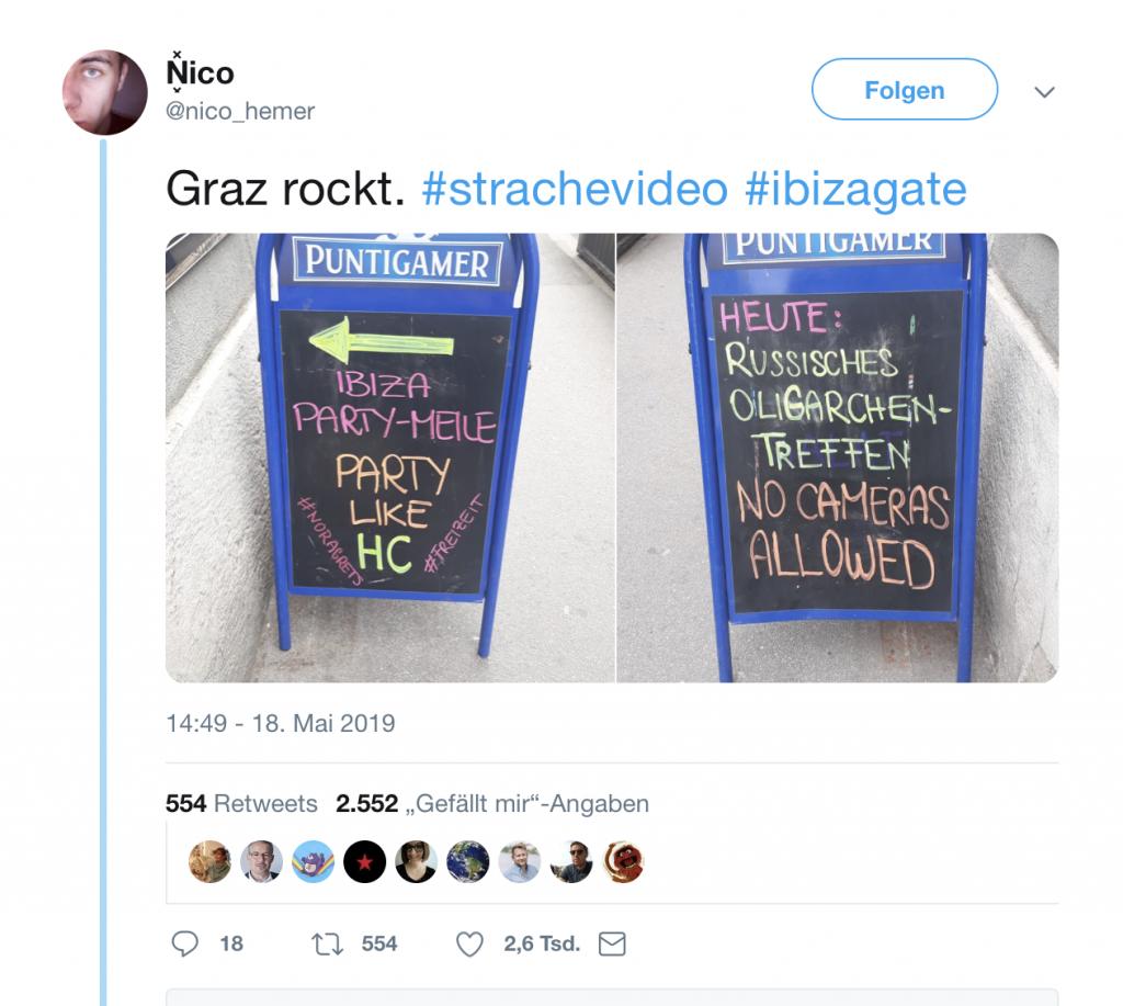 Ibiza-Party: Heute mit russischen Oligarchen; Foto: Screenshot Twitter
