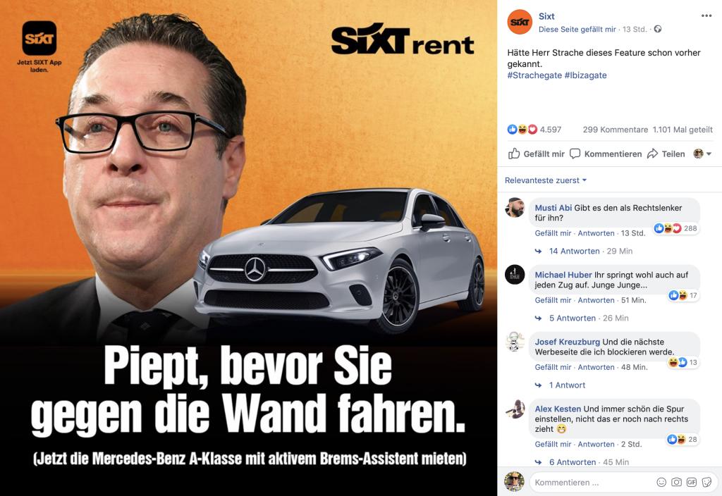 SIXT rent: Schnelle Reaktion der Marketing-Abteilung; Foto: Screenshot Facebook