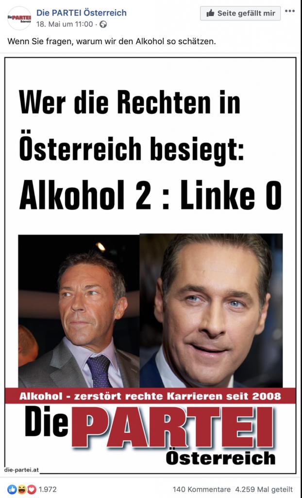 DIE PARTEI Österreich: Wer die Rechten in Österreich besiegt hat; Foto: Screenshot Facebook