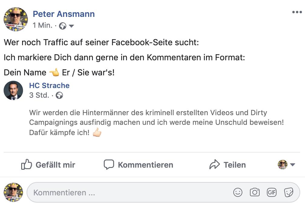 Traffic-Generierung mit HC Strache; Foto: Screenshot Facebook