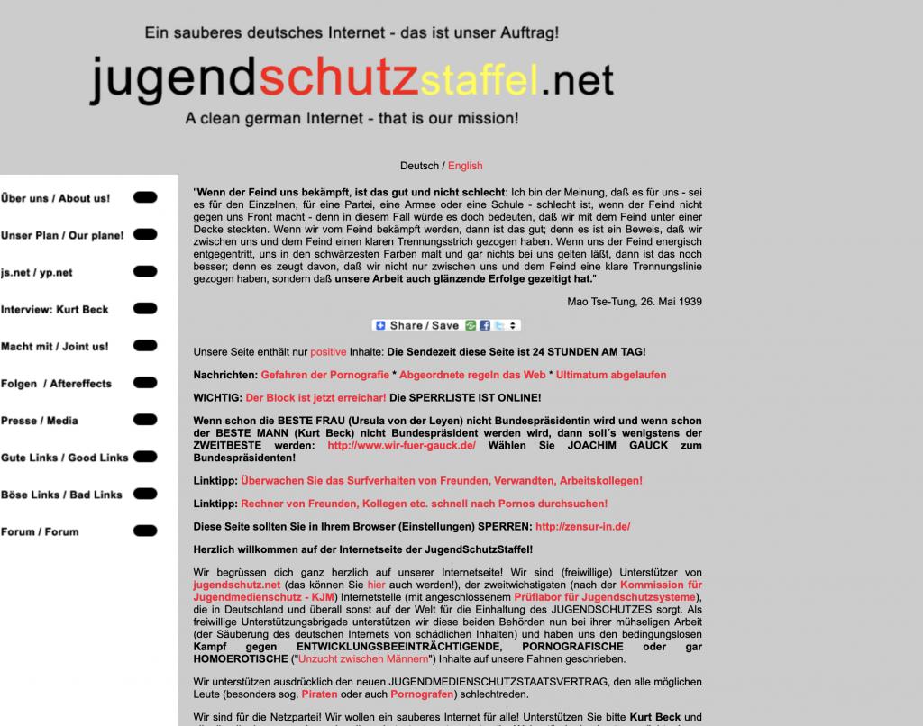 Mit Satire gegen den Irrsinn im WWW: Die Jugendschutzstaffel; Screenshot