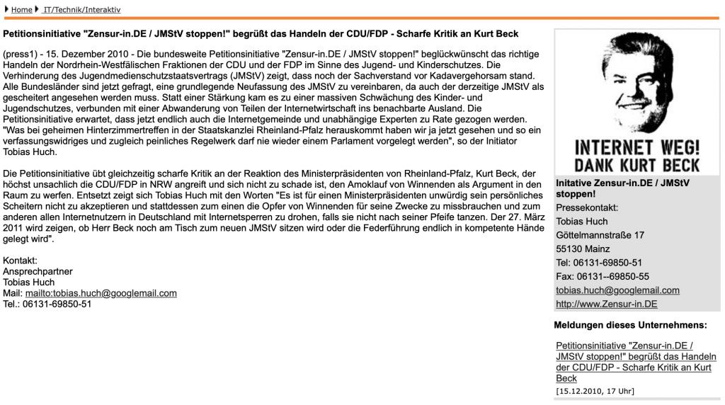 Zensur-in.de: Gratulation an den Landtag von NRW zur klugen Entscheidung im Dezember 2010; Screenshot