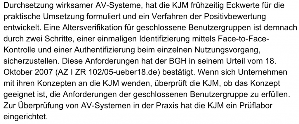 "Prüflabor! Prüflabor! Pressemitteilung der ""KJM""; Screenshot"