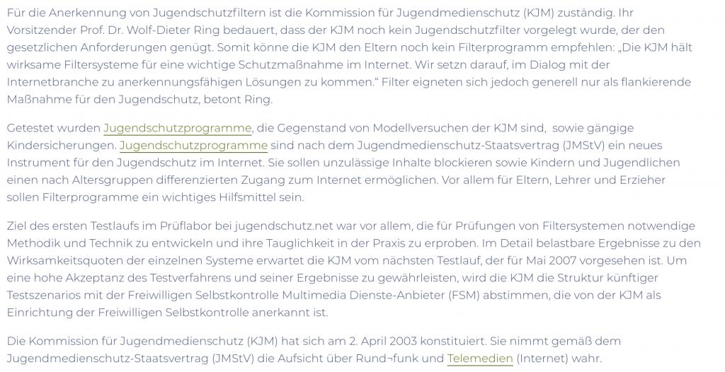 Machten schon immer Stress im Prüflabor: Jugendschutzfilter; Screenshot einer KJM-Pressemitteilung;