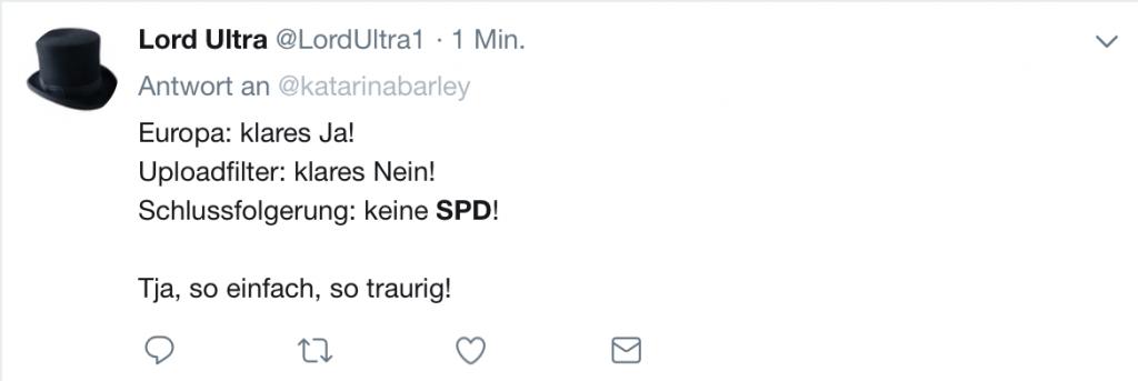Lord Ultra antwortet Katarina Barley (SPD-Spitzenkandidatin zur Europawahl 2ß19); Screenshot