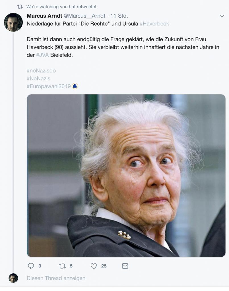 """Marcus Arndt zum Thema """"Freiheit für Ursula Haverbeck""""; Screenshot"""