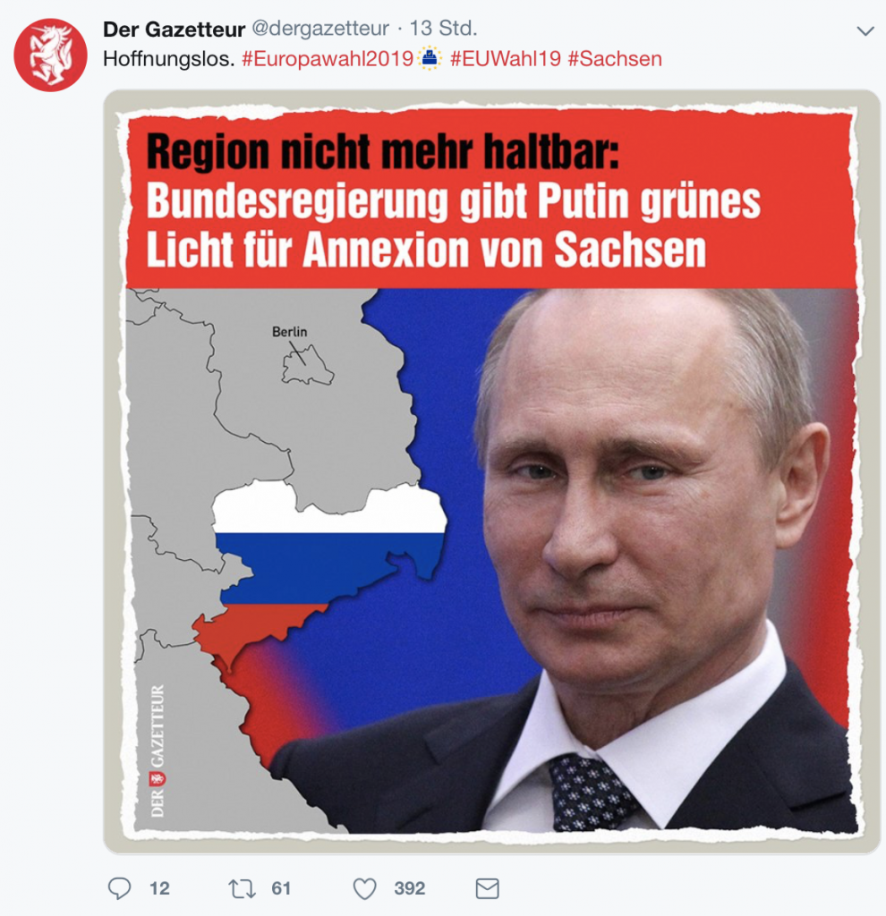 Der Gezetteur zum Problemfall Sachsen; Screenshot