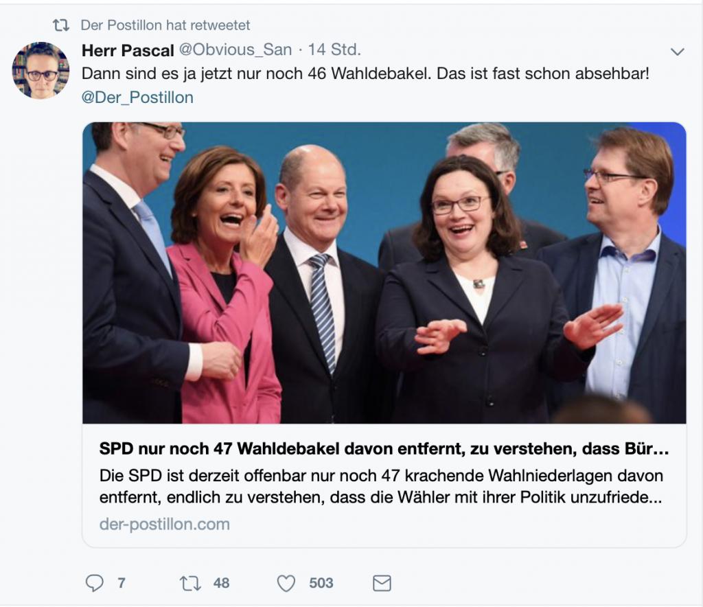 Optimistische Prognose für die SPD; Screenshot