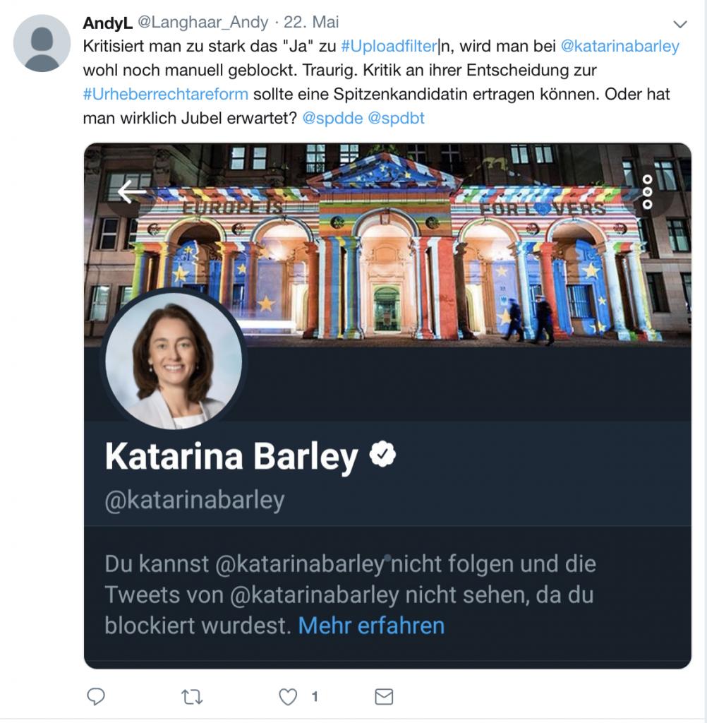 Blocken und Filter, genau ihr Fachgebiet: Katarina Barley (SPD); Screenshot