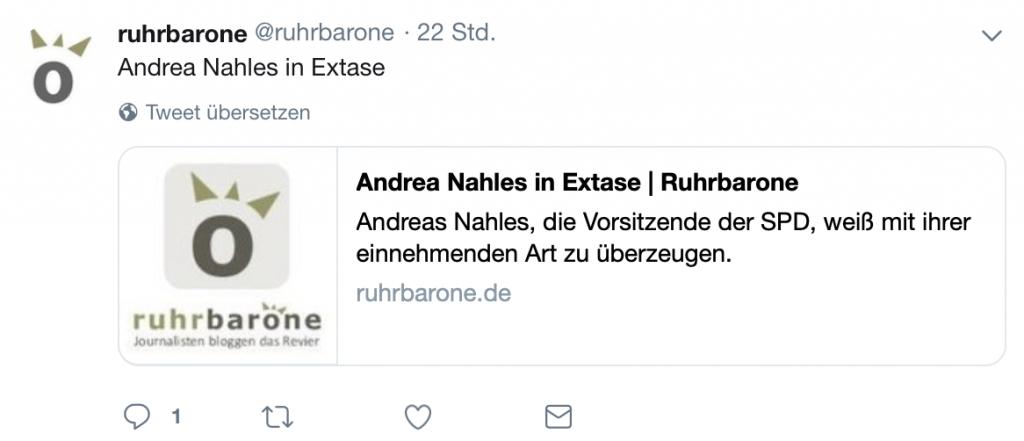 Die Ruhrbarone: Am Wahltag ein schöner Tweet zu Andrea Nahles (Vorsitzende der SPD); Screenshot