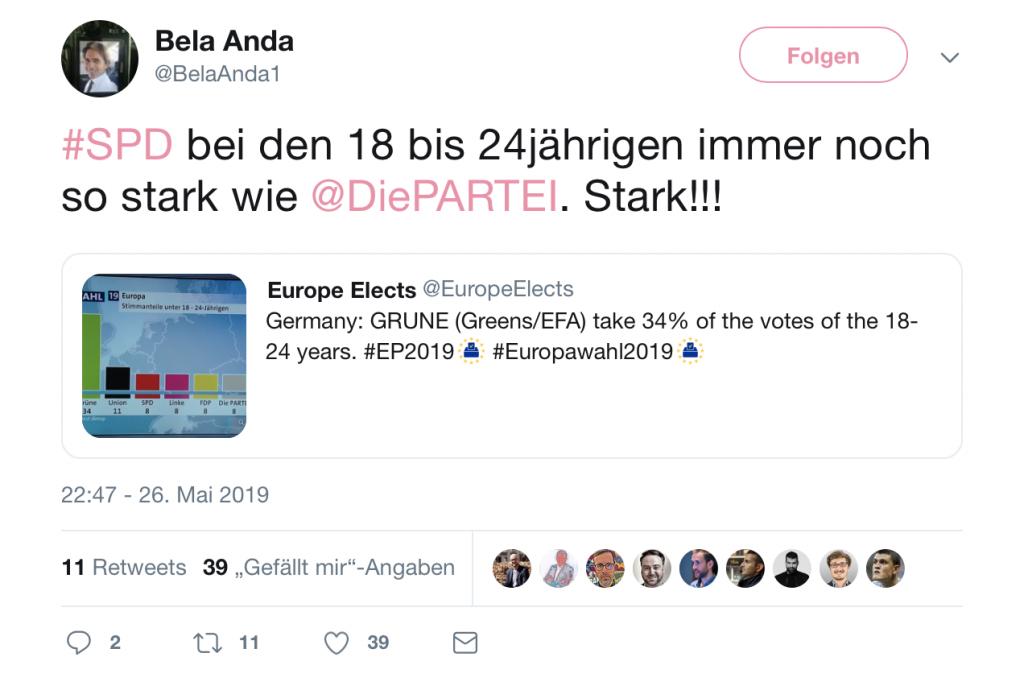 Da ist doch noch ein wenig Hoffnung für die SPD: Bei der jungen Generation konnte die SPD abräumen; Screenshot