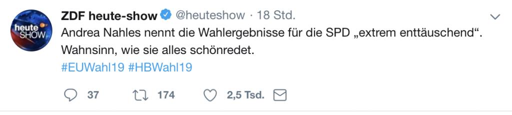 """""""Extrem enttäuschend"""" trifft es nicht so ganz: Die heute-show zum SPD-Wahlergebnis; Screenshot"""