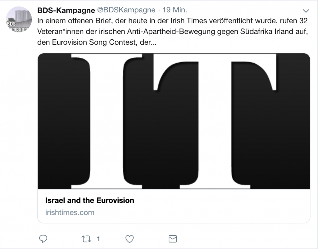 @BDSKampagne auf Twitter: Hetze gegen Demokratie und Toleranz; Screenshot