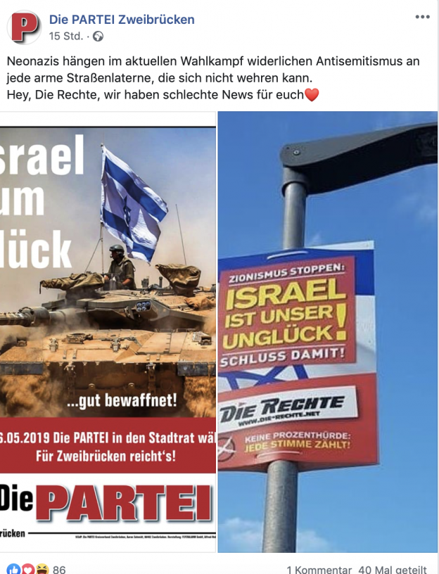 Rechts: Antisemitisches Plakat (DIE RECHTE); Links: Die adäquate Antwort der PARTEI!