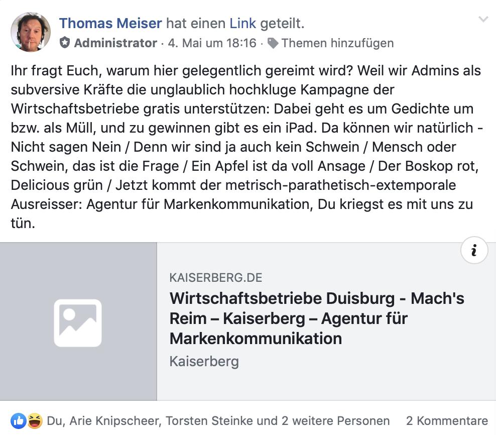 This escalated heavily: In der FB-Gruppe Duisburg ~Stadt- und Bürgerpolitik kümmert man sich um Duisburg; Screenshot