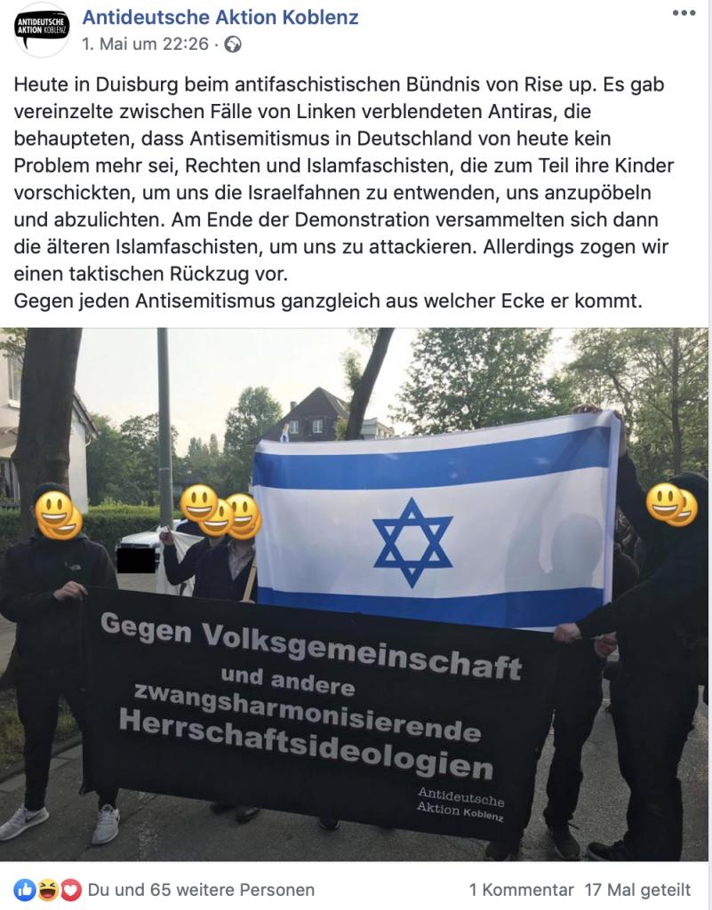 Antideutsche Aktion Koblenz: Screenshot vom Posting zum Flaggengate auf der Facebook-Seite.