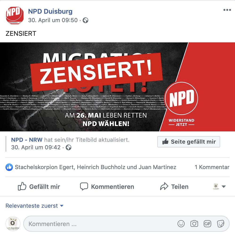 Problematik bekannt: Facebookbeitrag der NPD Duisburg vom 30.04.2019; Screenshot