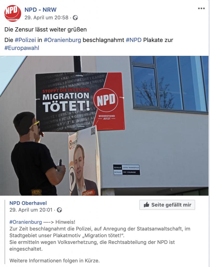 Am 29. April 2019 veröffentlichte die NPD-NRW einen Beitrag zur Plakatproblematik; Screenshot