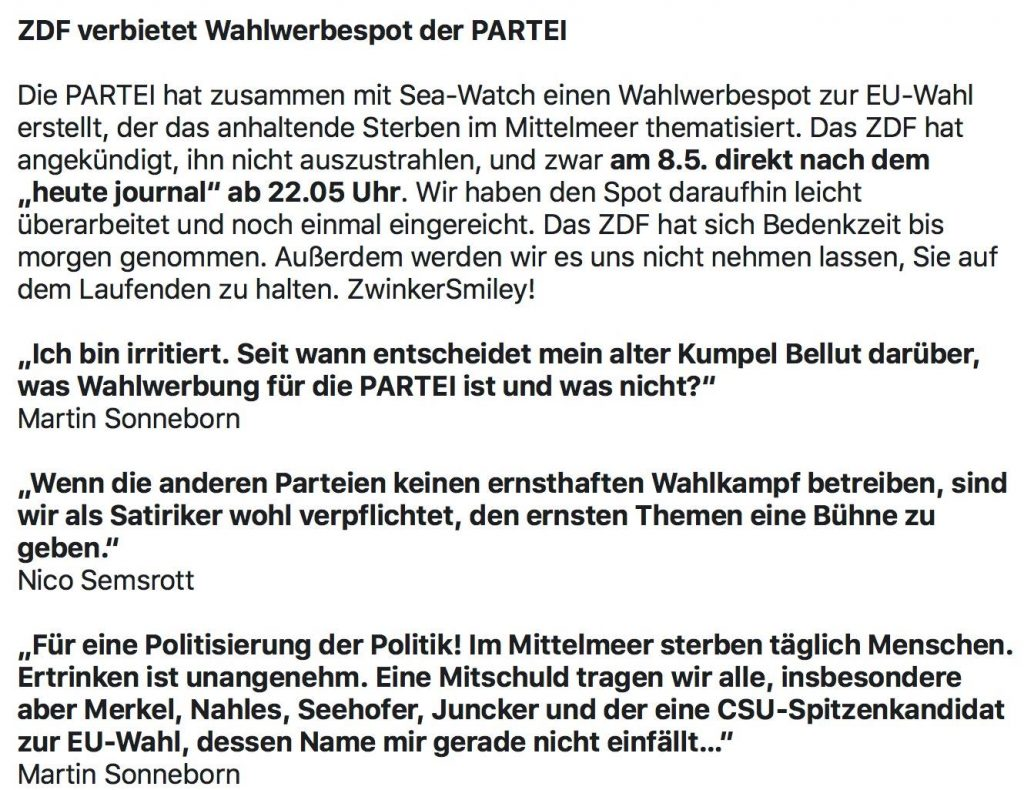 Pressemitteilung der Partei DIE PARTEI