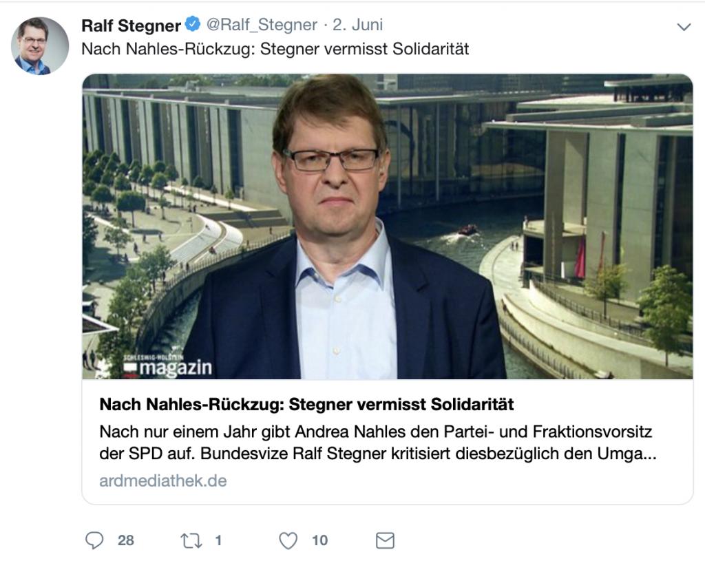 Ralf Stegner spricht im NDR über mangelnde Solidarität; Foto: Screenshot Twitter